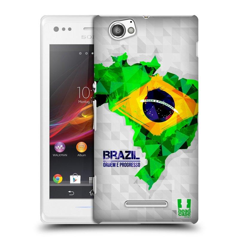 Plastové pouzdro na mobil Sony Xperia M C1905 HEAD CASE GEOMAPA BRAZÍLIE (Kryt či obal na mobilní telefon Sony Xperia M a M Dual)