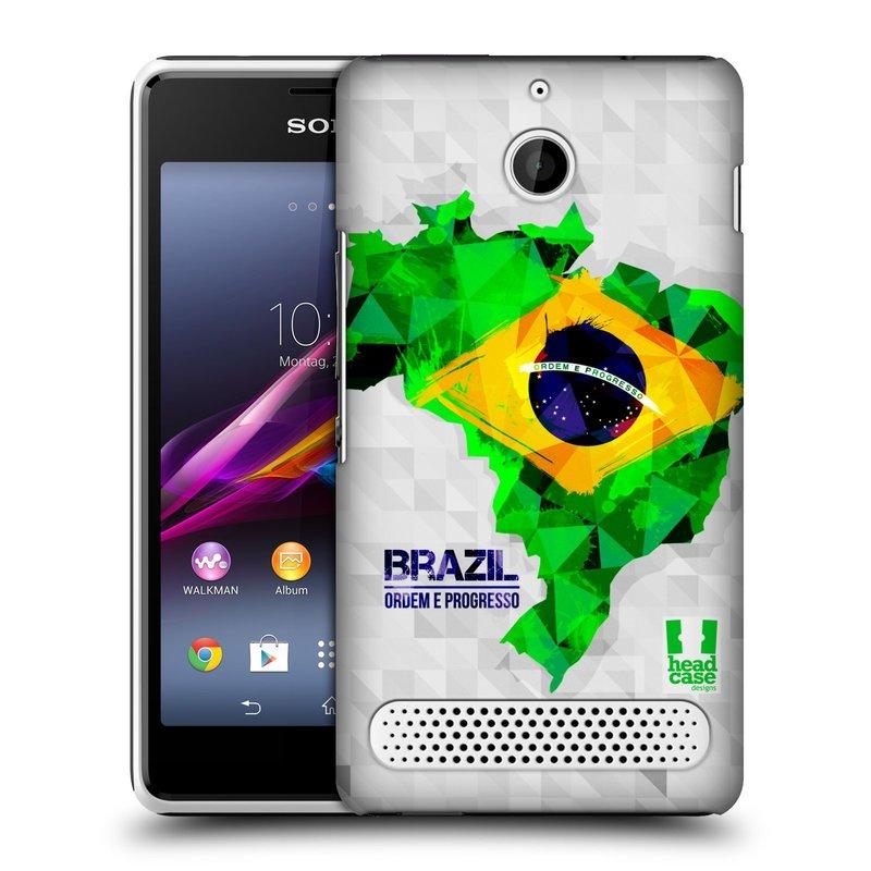 Plastové pouzdro na mobil Sony Xperia E1 D2005 HEAD CASE GEOMAPA BRAZÍLIE (Kryt či obal na mobilní telefon Sony Xperia E1 a E1 Dual )
