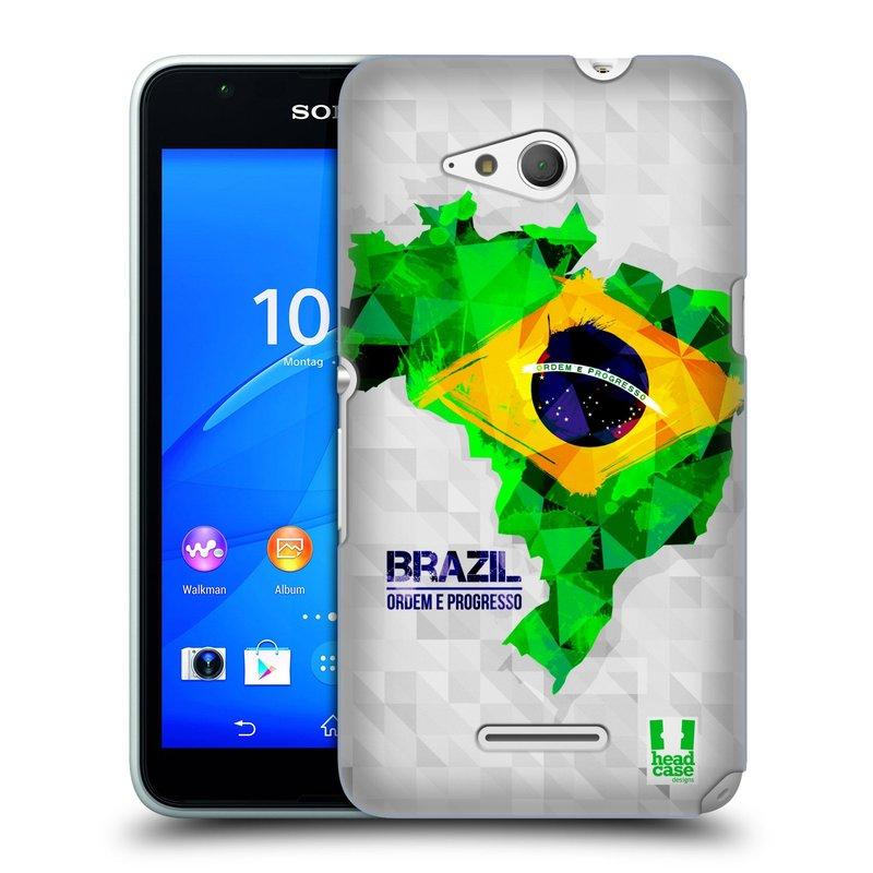 Plastové pouzdro na mobil Sony Xperia E4g E2003 HEAD CASE GEOMAPA BRAZÍLIE (Kryt či obal na mobilní telefon Sony Xperia E4g a E4g Dual SIM)