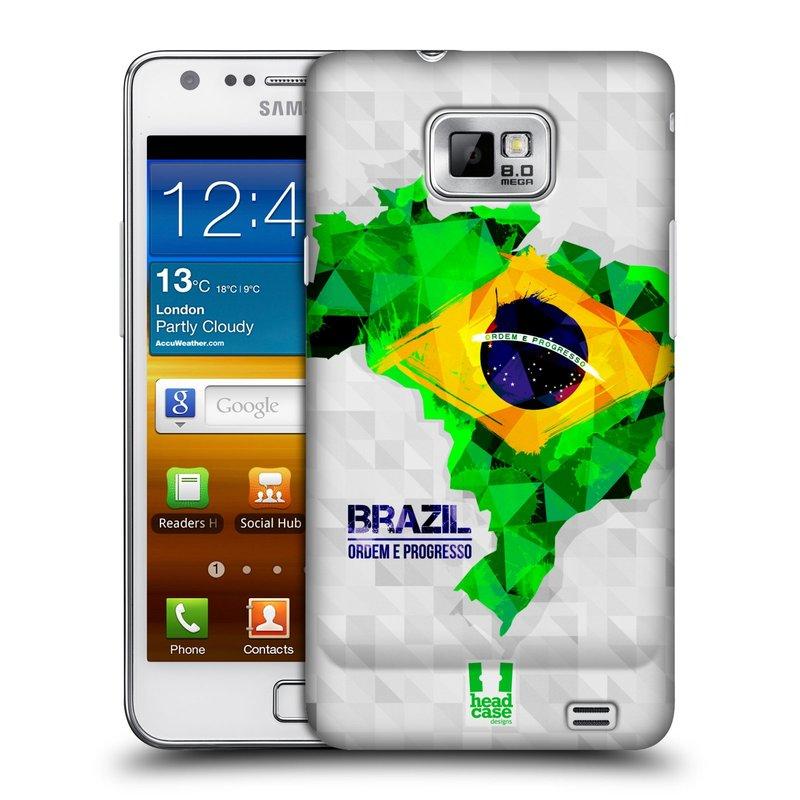 Plastové pouzdro na mobil Samsung Galaxy S II HEAD CASE GEOMAPA BRAZÍLIE (Kryt či obal na mobilní telefon Samsung Galaxy S II GT-i9100)