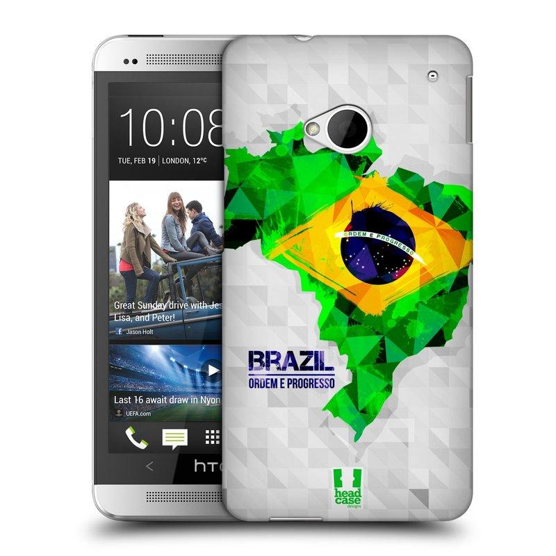 Plastové pouzdro na mobil HTC ONE M7 HEAD CASE GEOMAPA BRAZÍLIE (Kryt či obal na mobilní telefon HTC ONE M7)