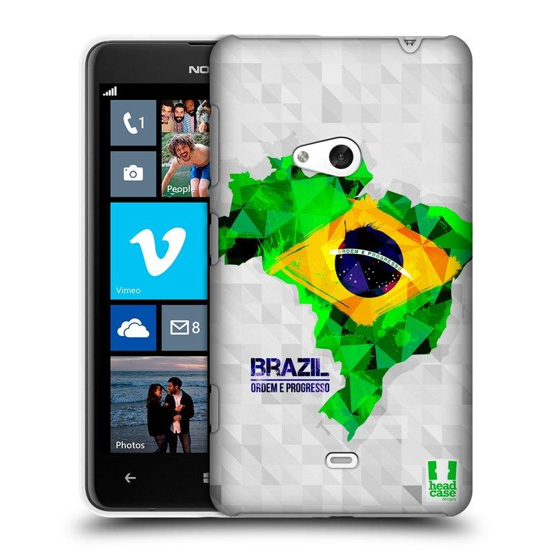 Plastové pouzdro na mobil Nokia Lumia 625 HEAD CASE GEOMAPA BRAZÍLIE (Kryt či obal na mobilní telefon Nokia Lumia 625)