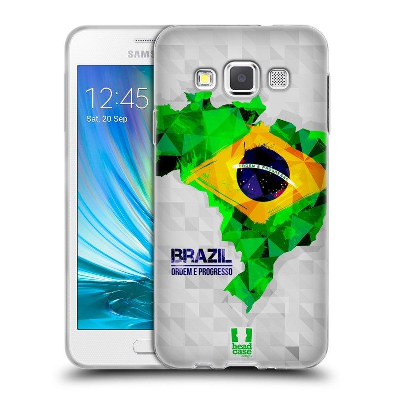 Silikonové pouzdro na mobil Samsung Galaxy A3 HEAD CASE GEOMAPA BRAZÍLIE (Silikonový kryt či obal na mobilní telefon Samsung Galaxy A3 SM-A300)