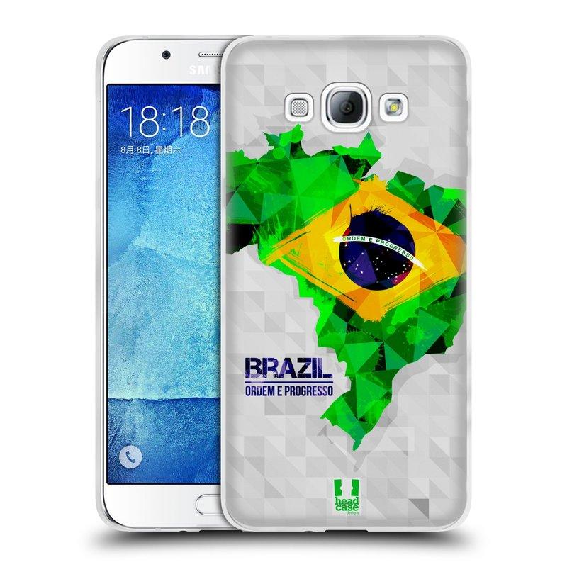 Silikonové pouzdro na mobil Samsung Galaxy A8 HEAD CASE GEOMAPA BRAZÍLIE (Silikonový kryt či obal na mobilní telefon Samsung Galaxy A8 SM-A800)