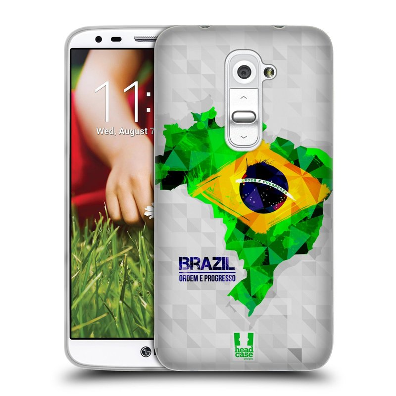 Silikonové pouzdro na mobil LG G2 HEAD CASE GEOMAPA BRAZÍLIE (Silikonový kryt či obal na mobilní telefon LG G2 D802)