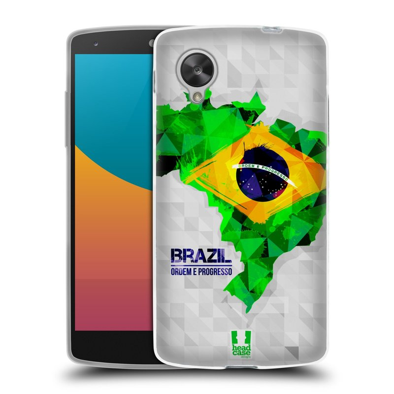 Silikonové pouzdro na mobil LG Nexus 5 HEAD CASE GEOMAPA BRAZÍLIE (Silikonový kryt či obal na mobilní telefon LG Google Nexus 5 D821)
