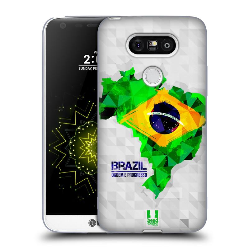 Silikonové pouzdro na mobil LG G5 HEAD CASE GEOMAPA BRAZÍLIE (Silikonový kryt či obal na mobilní telefon LG G5 H850)