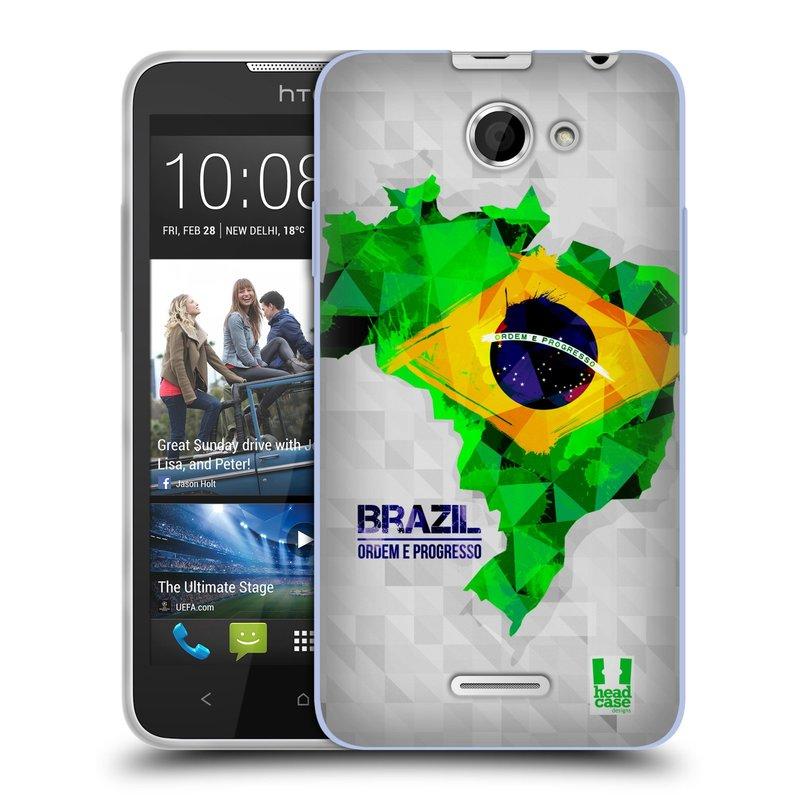 Silikonové pouzdro na mobil HTC Desire 516 HEAD CASE GEOMAPA BRAZÍLIE (Silikonový kryt či obal na mobilní telefon HTC Desire 516 Dual SIM)