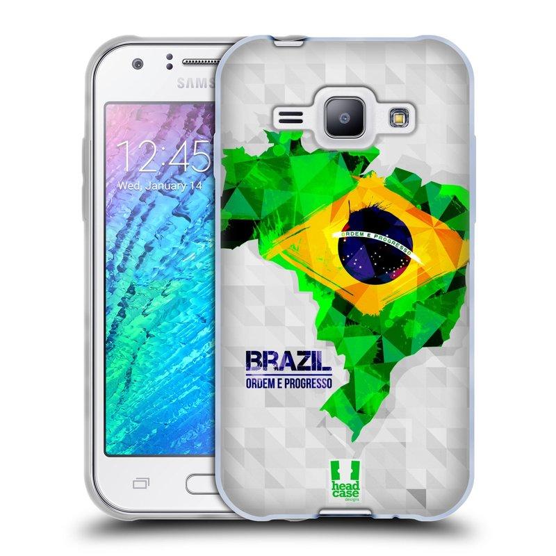 Silikonové pouzdro na mobil Samsung Galaxy J1 HEAD CASE GEOMAPA BRAZÍLIE (Silikonový kryt či obal na mobilní telefon Samsung Galaxy J1 a J1 Duos)