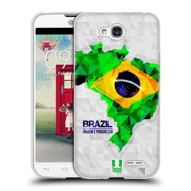 Silikonové pouzdro na mobil LG L90 HEAD CASE GEOMAPA BRAZÍLIE (Silikonový kryt či obal na mobilní telefon LG L90 D405n)