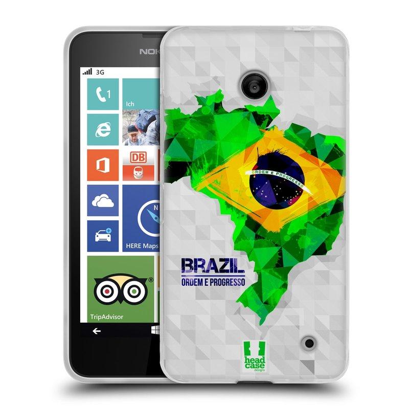Silikonové pouzdro na mobil Nokia Lumia 630 HEAD CASE GEOMAPA BRAZÍLIE (Silikonový kryt či obal na mobilní telefon Nokia Lumia 630 a Nokia Lumia 630 Dual SIM)