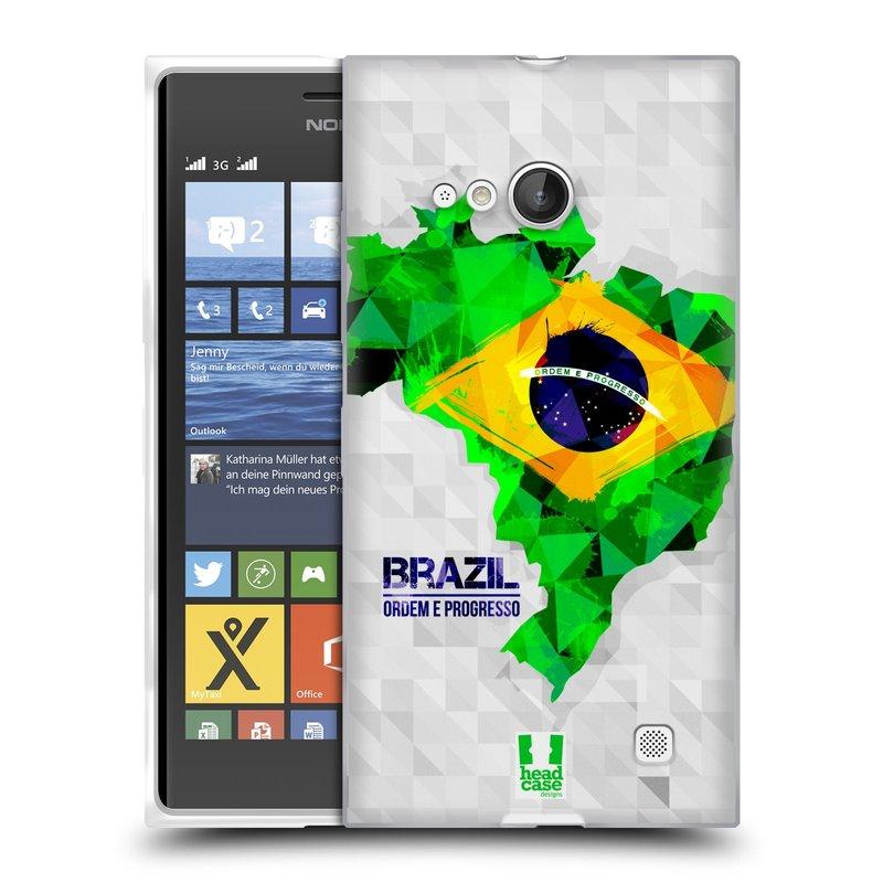 Silikonové pouzdro na mobil Nokia Lumia 730 Dual SIM HEAD CASE GEOMAPA BRAZÍLIE (Silikonový kryt či obal na mobilní telefon Nokia Lumia 730 Dual SIM)