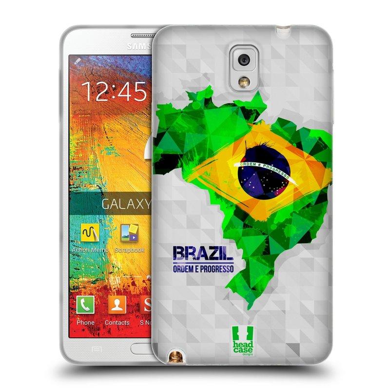 Silikonové pouzdro na mobil Samsung Galaxy Note 3 HEAD CASE GEOMAPA BRAZÍLIE (Silikonový kryt či obal na mobilní telefon Samsung Galaxy Note 3 SM-N9005)