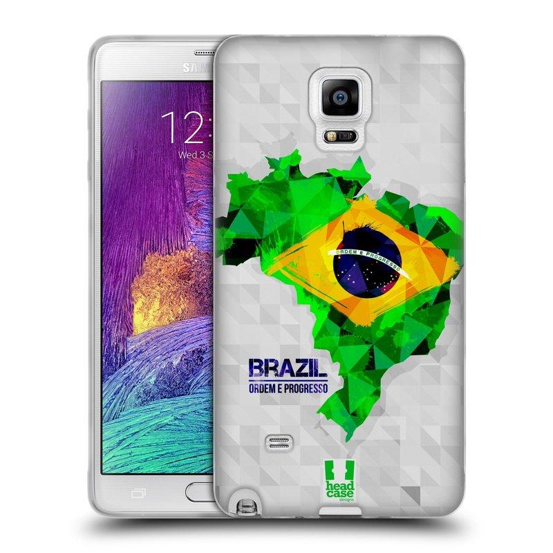 Silikonové pouzdro na mobil Samsung Galaxy Note 4 HEAD CASE GEOMAPA BRAZÍLIE (Silikonový kryt či obal na mobilní telefon Samsung Galaxy Note 4 SM-N910F)