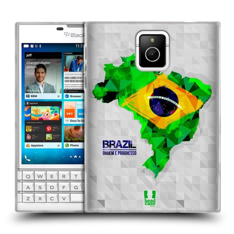 Silikonové pouzdro na mobil Blackberry PASSPORT HEAD CASE GEOMAPA BRAZÍLIE (Silikonový kryt či obal na mobilní telefon Blackberry PASSPORT)