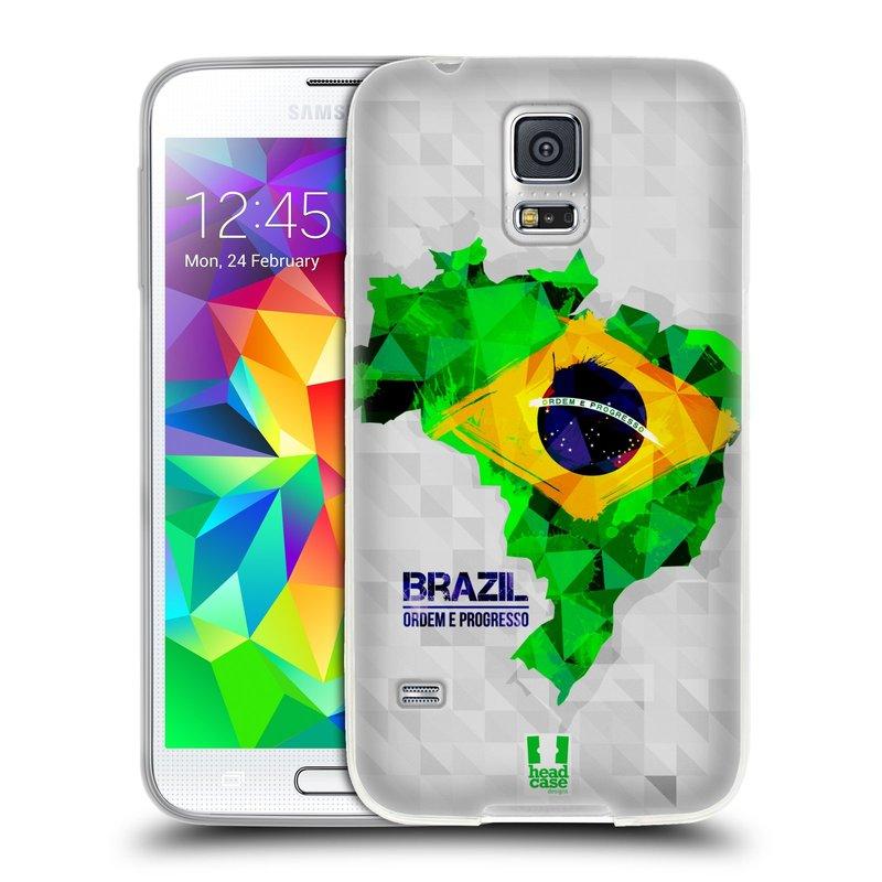 Silikonové pouzdro na mobil Samsung Galaxy S5 HEAD CASE GEOMAPA BRAZÍLIE (Silikonový kryt či obal na mobilní telefon Samsung Galaxy S5 SM-G900F)