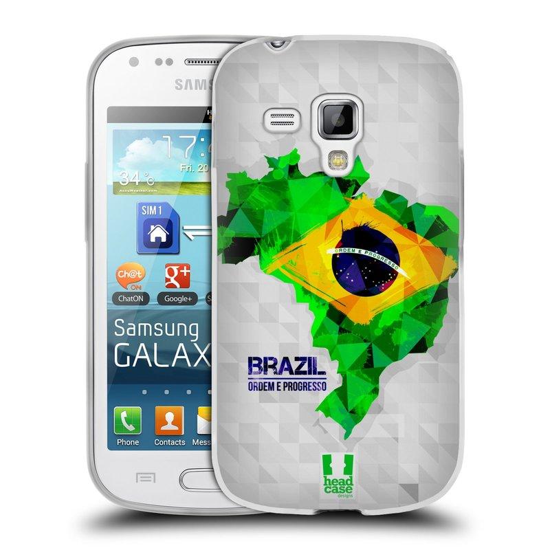 Silikonové pouzdro na mobil Samsung Galaxy S Duos HEAD CASE GEOMAPA BRAZÍLIE (Silikonový kryt či obal na mobilní telefon Samsung Galaxy S Duos GT-S7562)