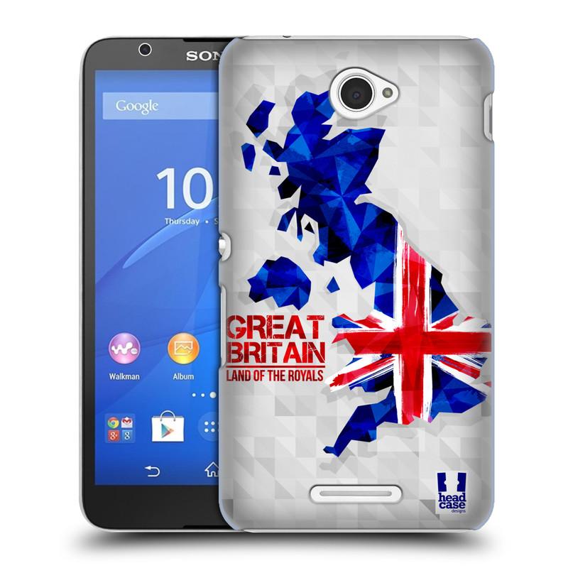 Plastové pouzdro na mobil Sony Xperia E4 E2105 HEAD CASE GEOMAPA VELKÁ BRTÁNIE (Kryt či obal na mobilní telefon Sony Xperia E4 a E4 Dual SIM)