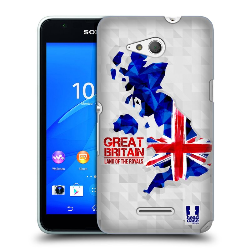 Plastové pouzdro na mobil Sony Xperia E4g E2003 HEAD CASE GEOMAPA VELKÁ BRTÁNIE (Kryt či obal na mobilní telefon Sony Xperia E4g a E4g Dual SIM)