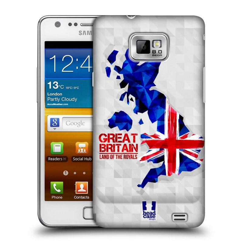 Plastové pouzdro na mobil Samsung Galaxy S II HEAD CASE GEOMAPA VELKÁ BRTÁNIE (Kryt či obal na mobilní telefon Samsung Galaxy S II GT-i9100)