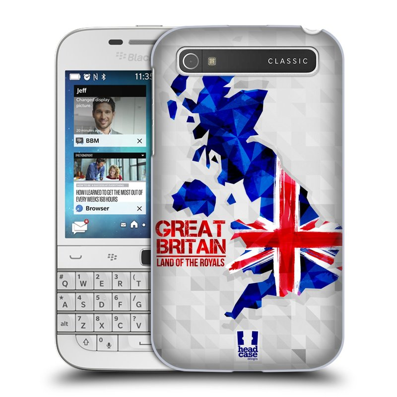 Plastové pouzdro na mobil Blackberry Classic HEAD CASE GEOMAPA VELKÁ BRTÁNIE (Kryt či obal na mobilní telefon Blackberry Classic)