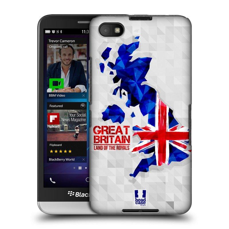Plastové pouzdro na mobil Blackberry Z30 HEAD CASE GEOMAPA VELKÁ BRTÁNIE (Kryt či obal na mobilní telefon Blackberry Z30)