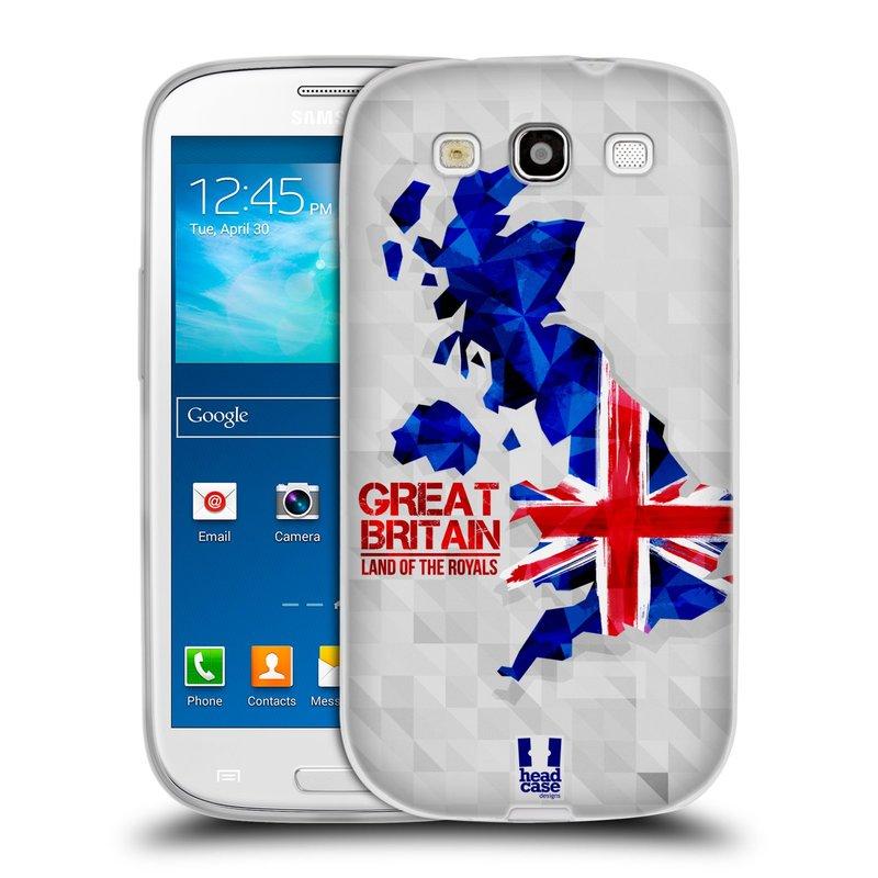 Silikonové pouzdro na mobil Samsung Galaxy S III HEAD CASE GEOMAPA VELKÁ BRTÁNIE (Silikonový kryt či obal na mobilní telefon Samsung Galaxy S III GT-i9300)