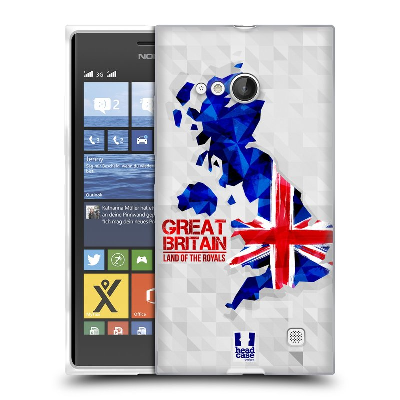 Silikonové pouzdro na mobil Nokia Lumia 730 Dual SIM HEAD CASE GEOMAPA VELKÁ BRTÁNIE (Silikonový kryt či obal na mobilní telefon Nokia Lumia 730 Dual SIM)