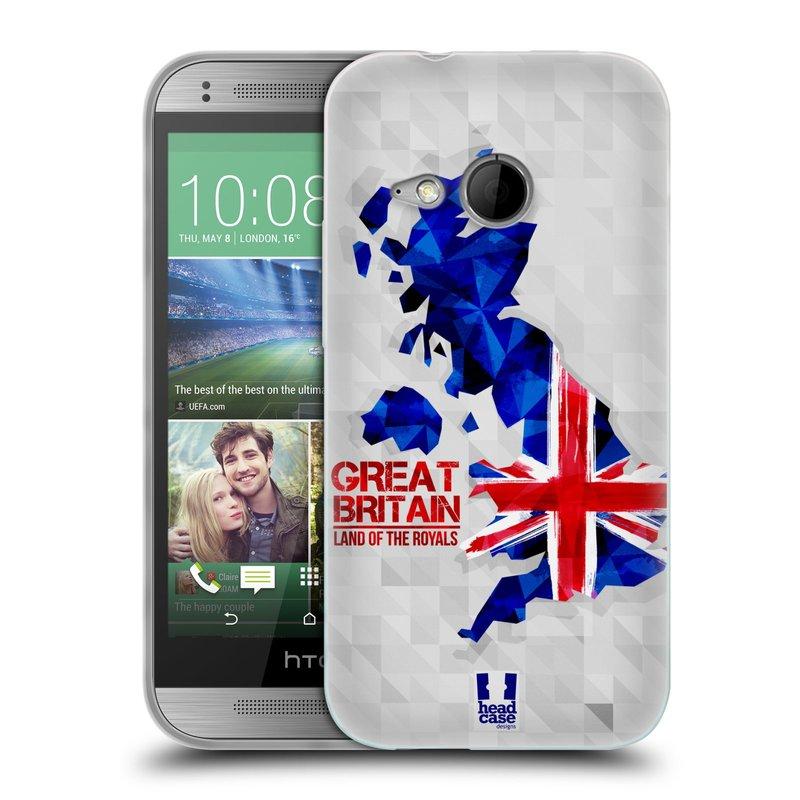 Silikonové pouzdro na mobil HTC ONE Mini 2 HEAD CASE GEOMAPA VELKÁ BRTÁNIE (Silikonový kryt či obal na mobilní telefon HTC ONE Mini 2)