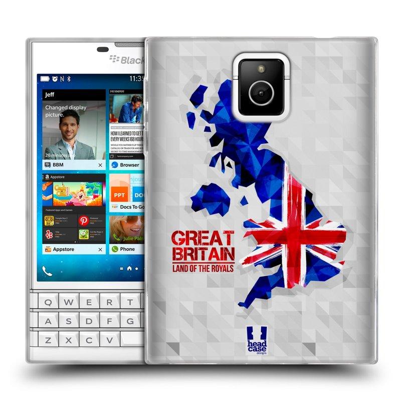 Silikonové pouzdro na mobil Blackberry PASSPORT HEAD CASE GEOMAPA VELKÁ BRTÁNIE (Silikonový kryt či obal na mobilní telefon Blackberry PASSPORT)