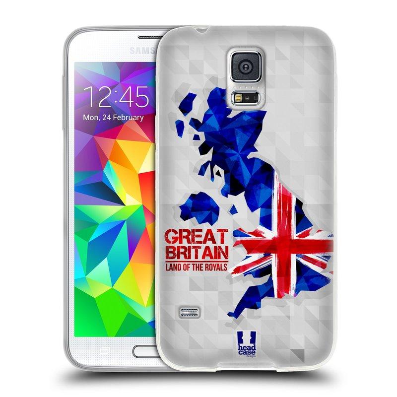 Silikonové pouzdro na mobil Samsung Galaxy S5 HEAD CASE GEOMAPA VELKÁ BRTÁNIE (Silikonový kryt či obal na mobilní telefon Samsung Galaxy S5 SM-G900F)
