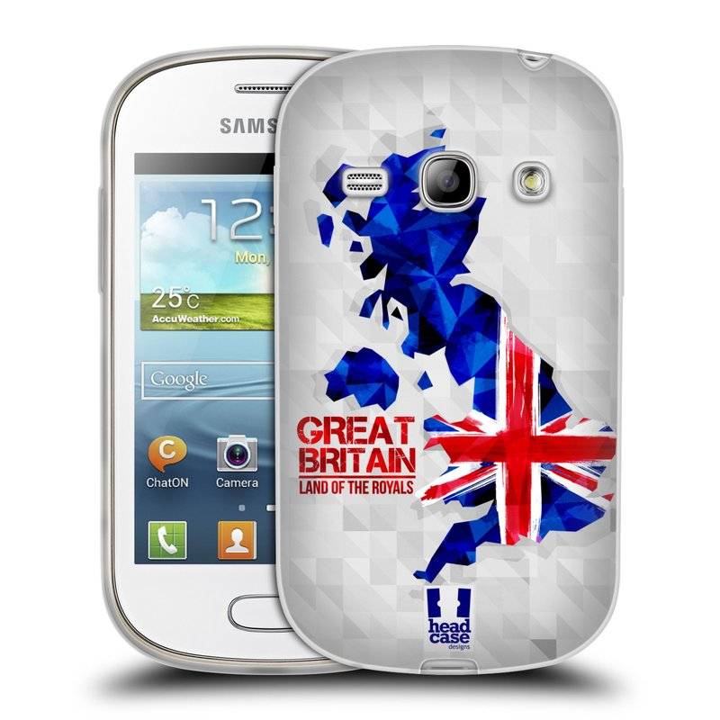 Silikonové pouzdro na mobil Samsung Galaxy Fame HEAD CASE GEOMAPA VELKÁ BRTÁNIE (Silikonový kryt či obal na mobilní telefon Samsung Galaxy Fame GT-S6810)