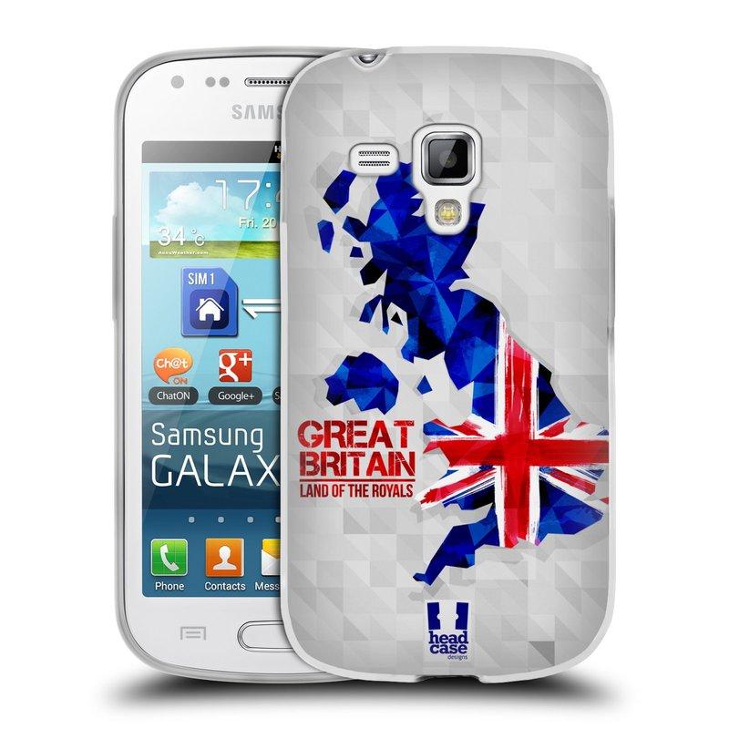 Silikonové pouzdro na mobil Samsung Galaxy S Duos HEAD CASE GEOMAPA VELKÁ BRTÁNIE (Silikonový kryt či obal na mobilní telefon Samsung Galaxy S Duos GT-S7562)