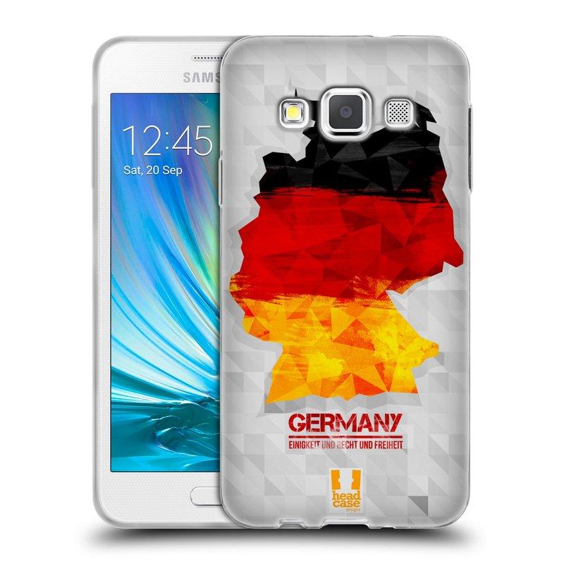 Silikonové pouzdro na mobil Samsung Galaxy A3 HEAD CASE GEOMAPA NĚMECKO (Silikonový kryt či obal na mobilní telefon Samsung Galaxy A3 SM-A300)