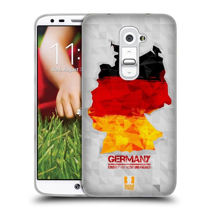 Silikonové pouzdro na mobil LG G2 HEAD CASE GEOMAPA NĚMECKO (Silikonový kryt či obal na mobilní telefon LG G2 D802)