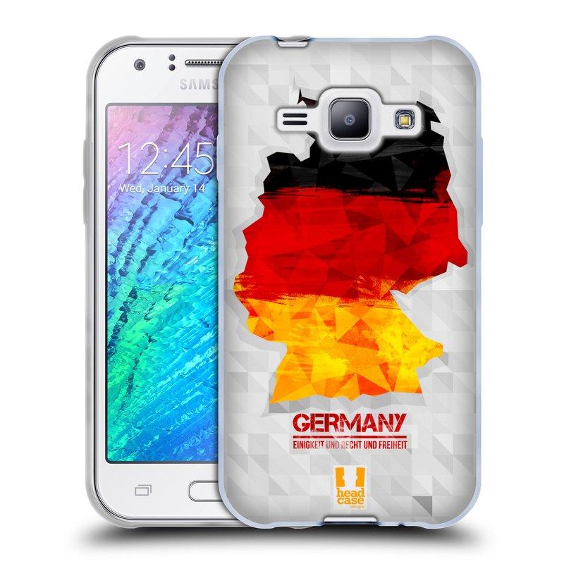 Silikonové pouzdro na mobil Samsung Galaxy J1 HEAD CASE GEOMAPA NĚMECKO (Silikonový kryt či obal na mobilní telefon Samsung Galaxy J1 a J1 Duos)