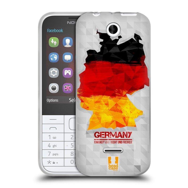 Silikonové pouzdro na mobil Nokia 225 HEAD CASE GEOMAPA NĚMECKO (Silikonový kryt či obal na mobilní telefon Nokia 225)