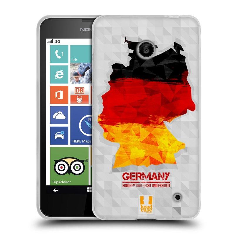 Silikonové pouzdro na mobil Nokia Lumia 630 HEAD CASE GEOMAPA NĚMECKO (Silikonový kryt či obal na mobilní telefon Nokia Lumia 630 a Nokia Lumia 630 Dual SIM)