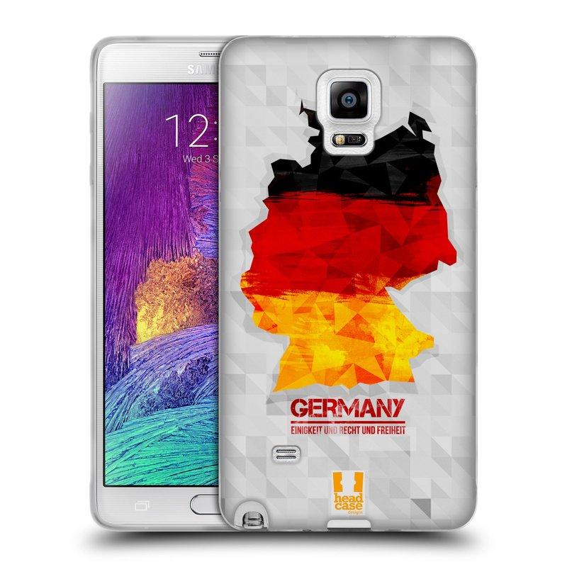 Silikonové pouzdro na mobil Samsung Galaxy Note 4 HEAD CASE GEOMAPA NĚMECKO (Silikonový kryt či obal na mobilní telefon Samsung Galaxy Note 4 SM-N910F)