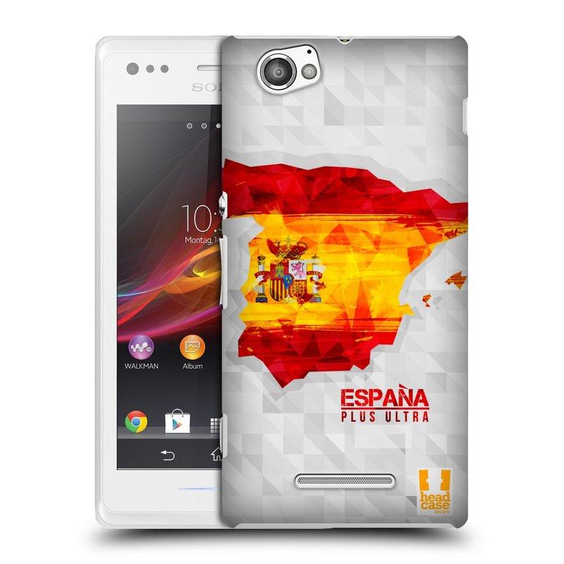 Plastové pouzdro na mobil Sony Xperia M C1905 HEAD CASE GEOMAPA ŠPANĚLSKO (Kryt či obal na mobilní telefon Sony Xperia M a M Dual)