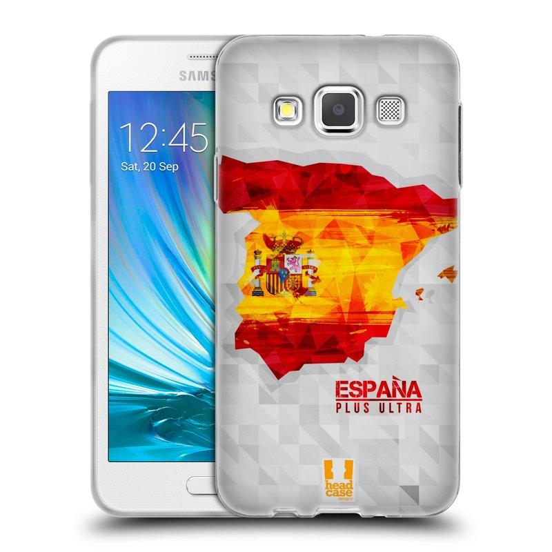 Silikonové pouzdro na mobil Samsung Galaxy A3 HEAD CASE GEOMAPA ŠPANĚLSKO (Silikonový kryt či obal na mobilní telefon Samsung Galaxy A3 SM-A300)