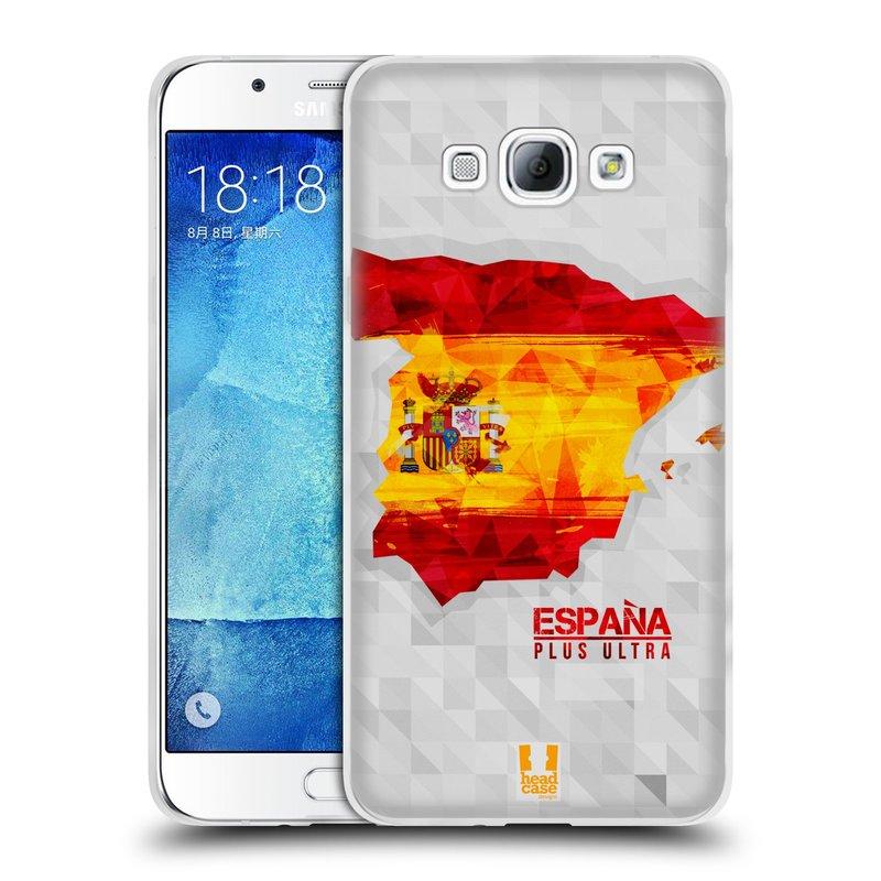 Silikonové pouzdro na mobil Samsung Galaxy A8 HEAD CASE GEOMAPA ŠPANĚLSKO (Silikonový kryt či obal na mobilní telefon Samsung Galaxy A8 SM-A800)