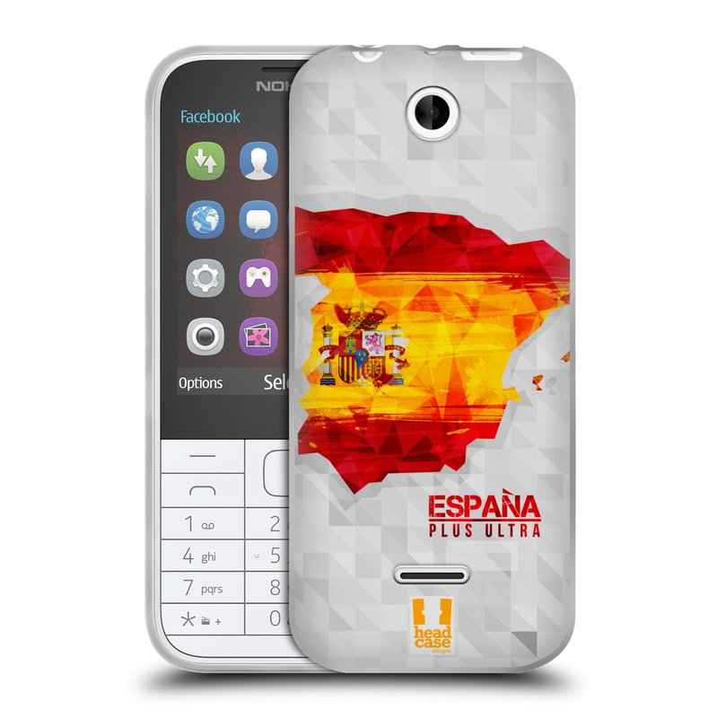 Silikonové pouzdro na mobil Nokia 225 HEAD CASE GEOMAPA ŠPANĚLSKO (Silikonový kryt či obal na mobilní telefon Nokia 225)