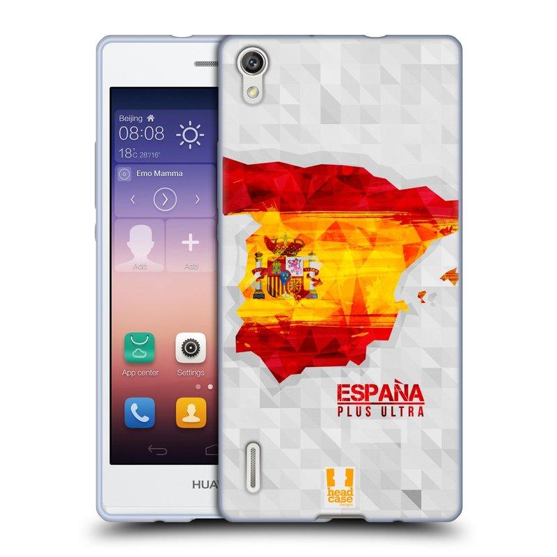Silikonové pouzdro na mobil Huawei P7 HEAD CASE GEOMAPA ŠPANĚLSKO (Silikonový kryt či obal na mobilní telefon Huawei Ascend P7)