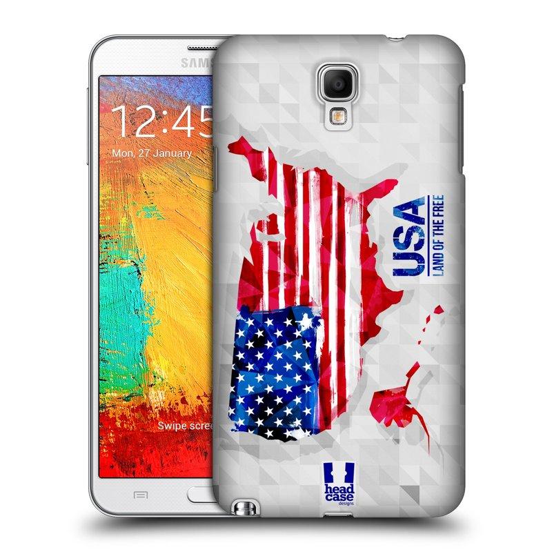 Plastové pouzdro na mobil Samsung Galaxy Note 3 Neo HEAD CASE GEOMAPA USA (Kryt či obal na mobilní telefon Samsung Galaxy Note 3 Neo SM-N7505)