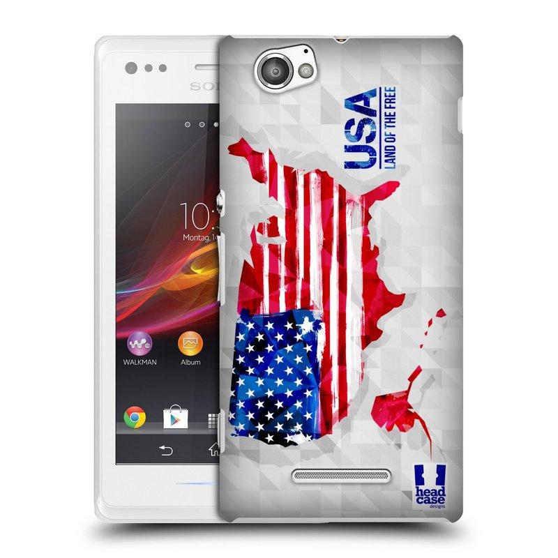 Plastové pouzdro na mobil Sony Xperia M C1905 HEAD CASE GEOMAPA USA (Kryt či obal na mobilní telefon Sony Xperia M a M Dual)