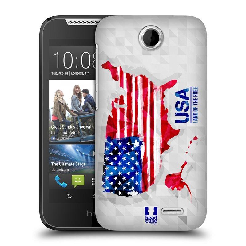 Plastové pouzdro na mobil HTC Desire 310 HEAD CASE GEOMAPA USA (Kryt či obal na mobilní telefon HTC Desire 310)
