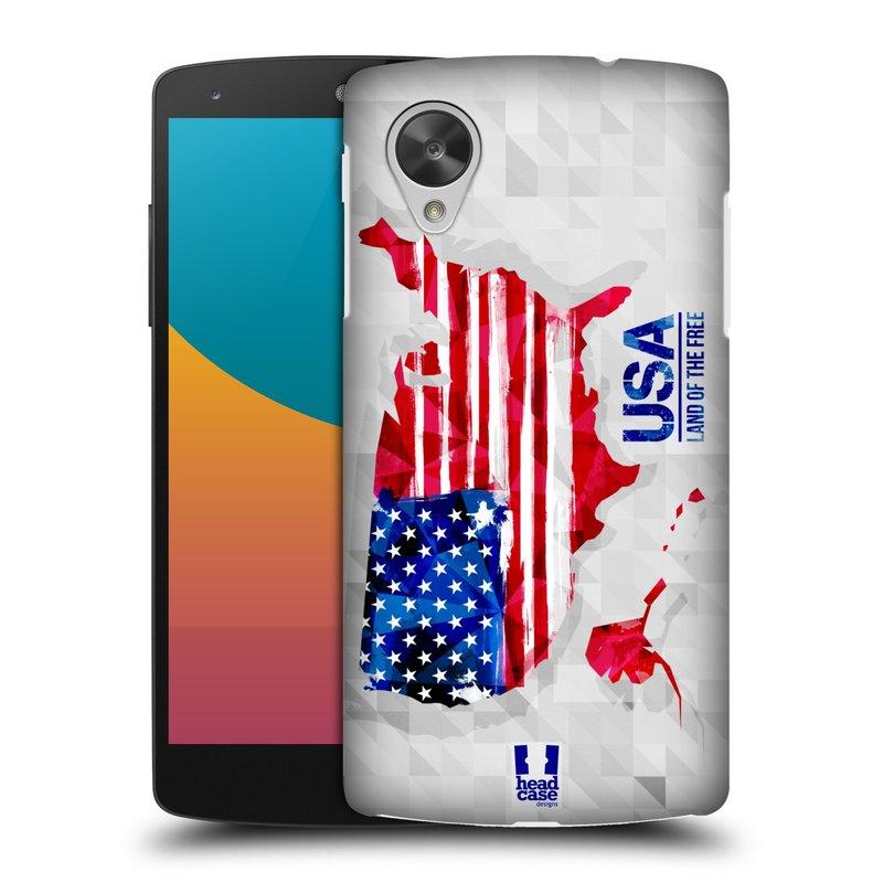Plastové pouzdro na mobil LG Nexus 5 HEAD CASE GEOMAPA USA (Kryt či obal na mobilní telefon LG Google Nexus 5 D821)