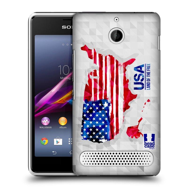Plastové pouzdro na mobil Sony Xperia E1 D2005 HEAD CASE GEOMAPA USA (Kryt či obal na mobilní telefon Sony Xperia E1 a E1 Dual )