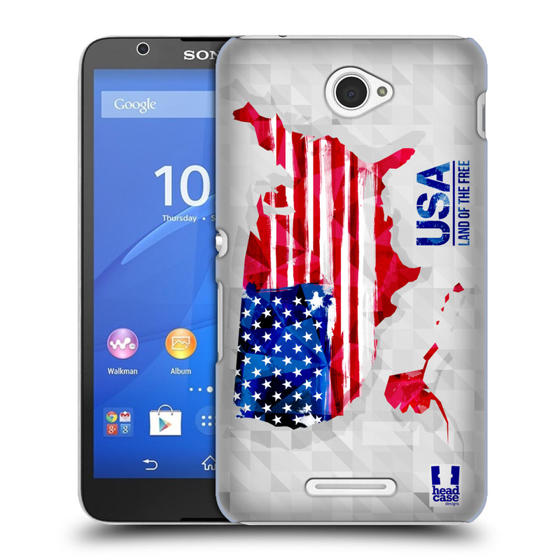 Plastové pouzdro na mobil Sony Xperia E4 E2105 HEAD CASE GEOMAPA USA (Kryt či obal na mobilní telefon Sony Xperia E4 a E4 Dual SIM)